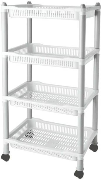 FABLE 4 Tyre Multipurpose Basket Stand Rack With Roaming Wheel Plastic Kitchen Trolley