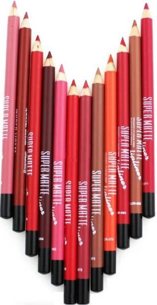 Rabcom SUPER MATTE LIP LINER( Set of 12 Creamy Lip Liner Pencils (Mix)
