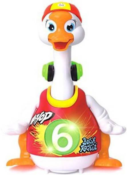Affiliates Duck Dancing Hip Hop Goose Development Musical Fun Toy   Read & Tell Story & Interactive Swing Goose Kids Learning Educational Toys Gifts (Red, Multicolor)