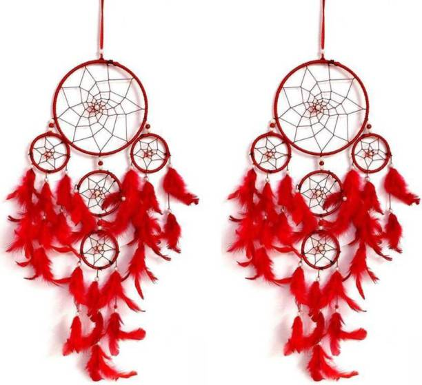 Ryme Pack Of (2) Red Five Rings Dream Catchers Wool Dream Catcher
