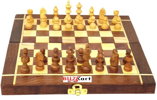 BuzyKart Wooden Chess Handmade Small Chess Pieces 10 Inches Strategy & War Games Board Game