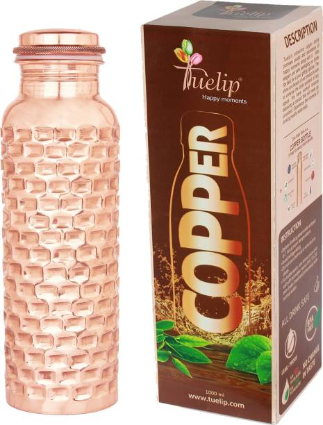 Tuelip hammered pure copper water bottle leak proof travel Essential 1000 ml