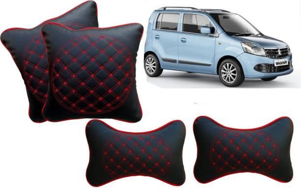 AUTO PEARL Black, Red Leatherite Car Pillow Cushion for Maruti Suzuki