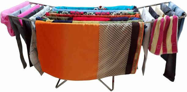 LIMETRO STEEL Steel Floor Cloth Dryer Stand SS-ROD-BEDSTYLE