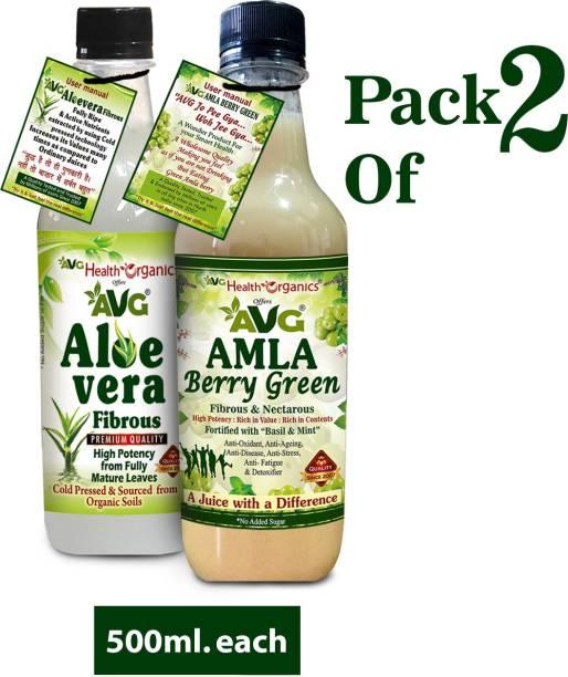 AVG Health Organics Combo of Amla and Aloevera Juice with Fiber