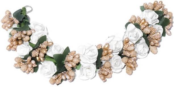 Priyaasi Women's White Fabric Juda Maker Flower Gajra Hair Accessory Bun