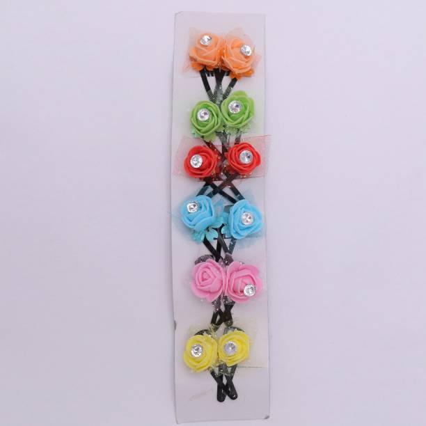 Honbon Kids Girls Handmade Rose Flower Tic Tac/Hair Pin/Hair Clip Pair 12pc Tic Tac Clip