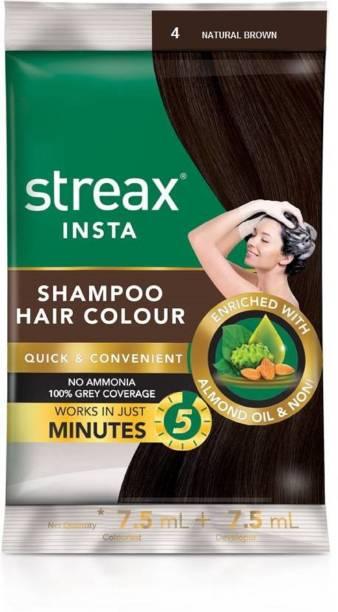 Streax Insta Shampoo Hair Colour-Natural Brown (15mlx16=240ml) , Brown