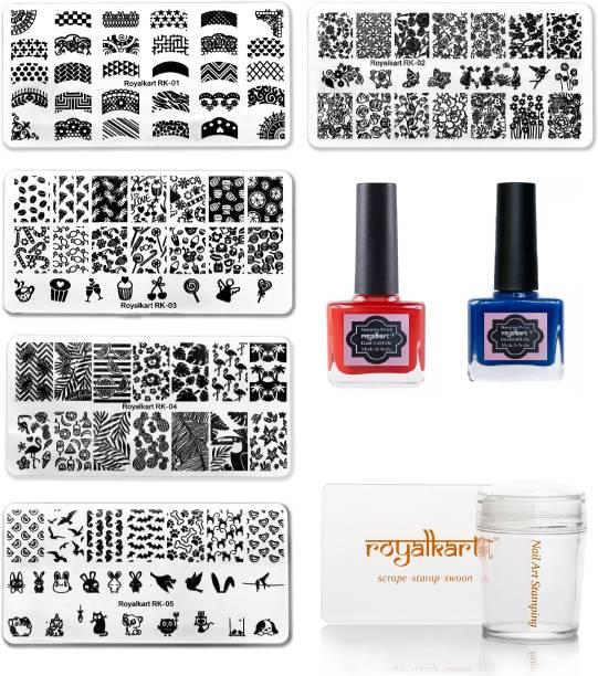Royalkart You Nail Stamping Kit With 5 Rectangular Image Plates