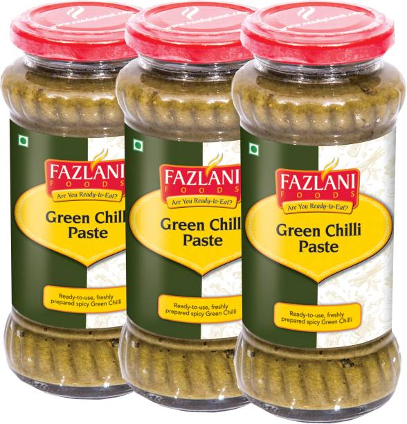 FAZLANI FOODS Ready to Use Green Chilli Paste (Pack of 3, 300gm each)