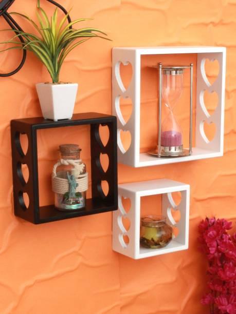 HOME SPARKLE Home Sparkle Set of 3 cube Wall Shelves (White And Black) MDF (Medium Density Fiber) Wall Shelf