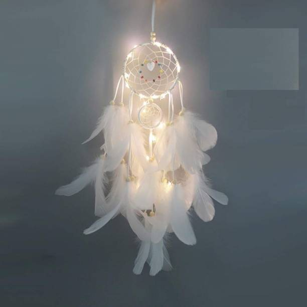 Grab Classy Dream catcher with lights White Wool Dream Catcher