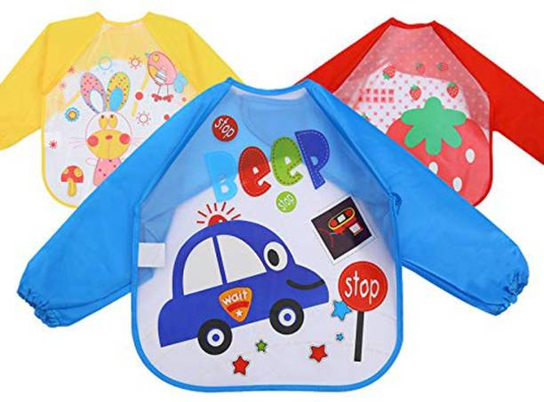 Fok 3 Pc Full Sleeves Washable Waterproof Feeding Bib for Babies and Kids (Multicolor)