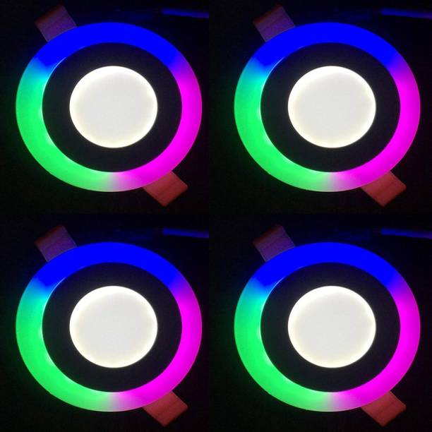 GALAXY 6 watt (3+3) LED Round Panel Light Ceiling POP Down Indoor Light LED 3D Effect Lighting (Double Color) Multi Coloured & White pack of 4 Recessed Ceiling Lamp