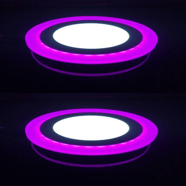 GALAXY 12 watt (6+3) LED Round Panel Light Ceiling POP Down Indoor Light LED 3D Effect Lighting (Double Color) Pink & White pack of 2 Recessed Ceiling Lamp
