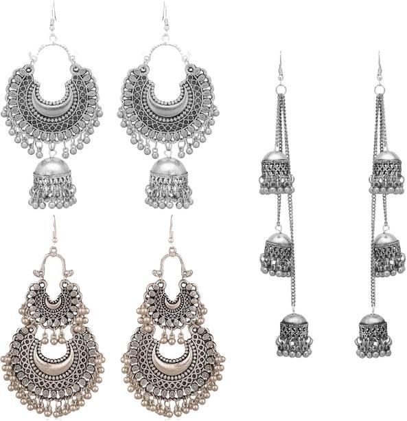 Victoria's Den Combo of 3 Designer Traditional Stylish Alloy Drops & Danglers, Earring Set, Chandbali Earring, Jhumki Earring