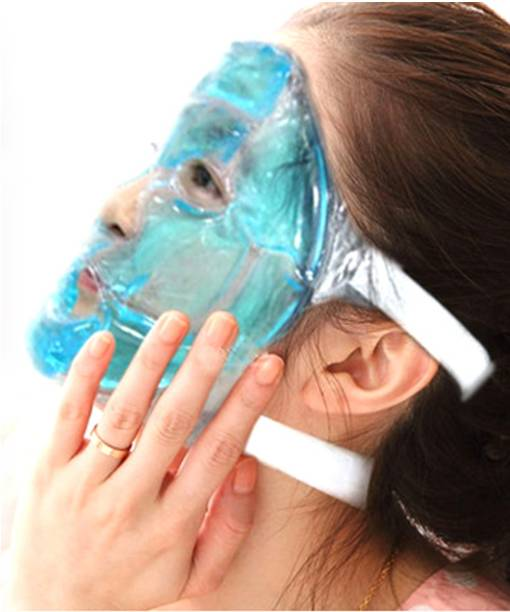 Skylight Hot Gel Face Eye Mask - Reduce Puffy Dark Circles Bags Under Eyes Migraines Stress Relief - Heat Ice Therapy Pack Compress - Sinus Pressure Acne Headaches Relaxation  Face Shaping Mask