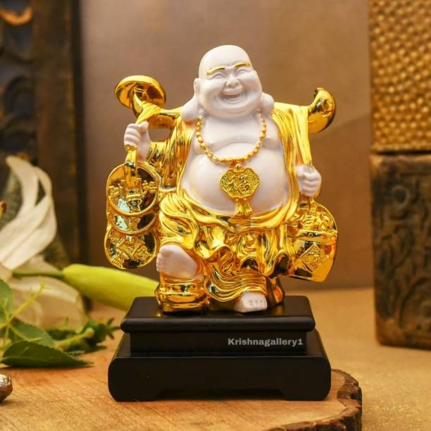 krishnagallery1 Gold Plated & with Wooden Base Feng Shui Laughing Buddha , Love Couple ,Idol Lord Gautam Buddha Handicraft Statue Decorative Spiritual Vastu Showpiece Figurine - Religious Murti Gift item� Decorative Showpiece  -  33 cm