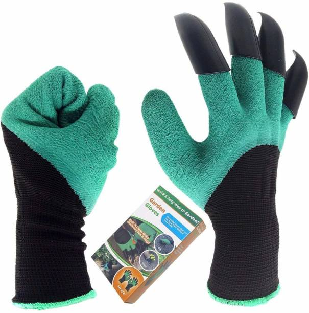 Cutezy Garden Genie Gloves with Claws, Great for Digging Weeding Seeding poking, Both Hand Claws Gardening Gloves, Quick & Easy to Dig & Plant, Safe for Rose Pruning (Right + Left Claw 1 Pair) Gardening Shoulder Glove