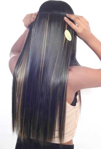 Ritzkart Black with golden highlight hair Hair Extension