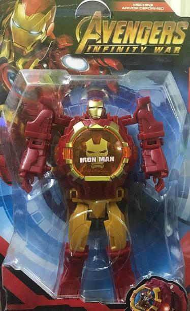I&SONI Iron men Robot Watch for Kids Iron Man Robot Toy Convert to Digital Wrist Watch for Kids Avengers Robot Deformation Watch Iron Man Figures Plus Watch