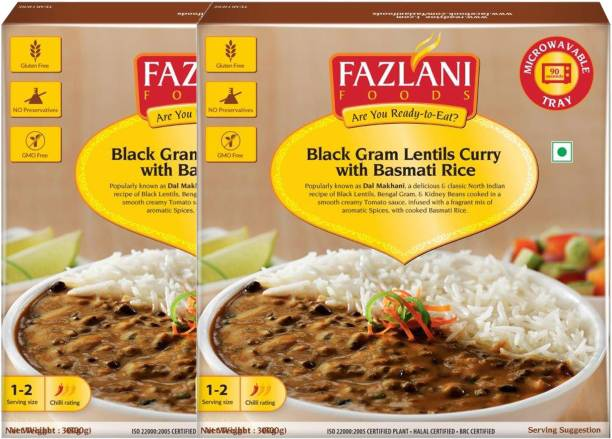 FAZLANI FOODS Ready to Eat Dal Makhani with Basmati Rice (Pack of 2, 300gm each) 600 g