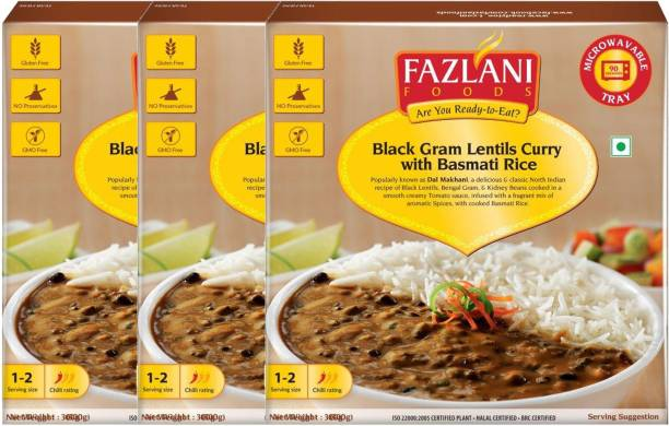FAZLANI FOODS Ready to Eat Dal Makhani with Basmati Rice (Pack of 3, 300gm each) 900 g