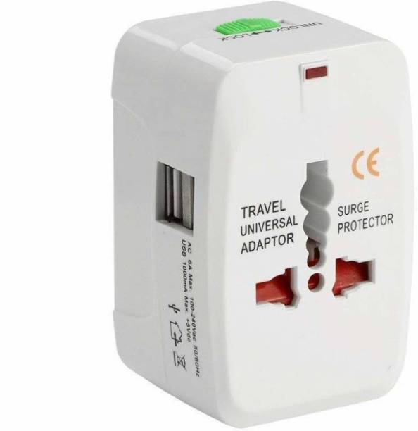 Bhani Travel Adapter with USB, All-in-one Universal Worldwide Travel Adapter with 2 usb ports Worldwide Adaptor