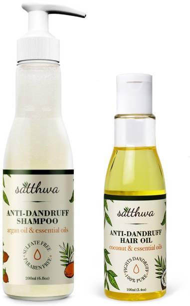 Satthwa Anti Dandruff Hair Oil Plus Anti Dandruff Shampoo Combo