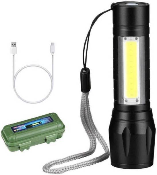 NKZ USB Rechargeable XPE+COB LED Zoomable Flashlight Torch Emergency Light