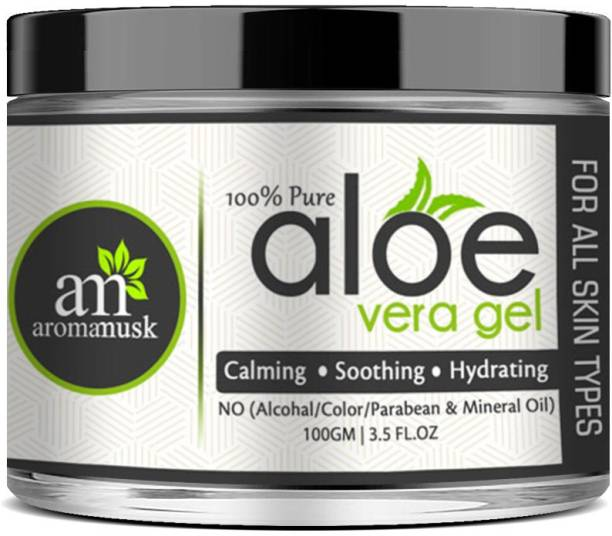aromamusk 100% Pure and Natural Aloe Vera Gel For Healthy Skin, Face & Hair,(No Alcohol, Chemical & Paraben Free )