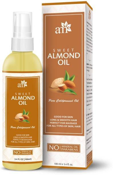 aromamusk 100% Pure Cold Pressed Sweet Almond Oil For Massage, Hair, Skin & Under Eye Hair Oil
