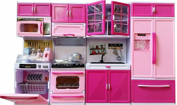 kinegic Pretty Girl Dream House Comfort Modern Kitchen Set for Kids