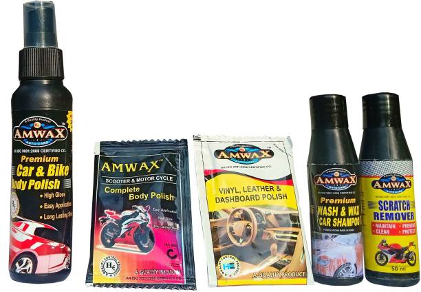 amwax Car & Bike Body Polish 120 ml, Scratch Remover 50 ml, Wash and Wax 50 ml, Dashboard Polish 10 ml, Body Polish 10 ml Combo