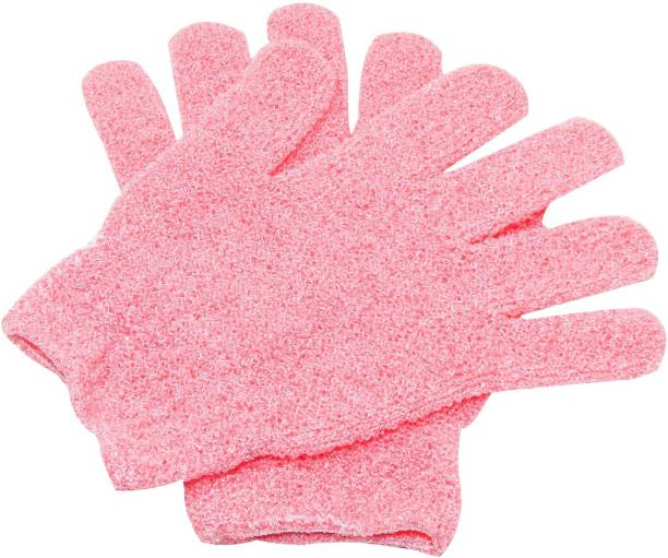 Three Elements Exfoliating Dual Texture Bath Gloves for Shower Dead Skin Cell Remover,Scrubbing Glove Bath Mitts Scrubs for Shower Gloves with hanging loop-random color(2 Pairs)