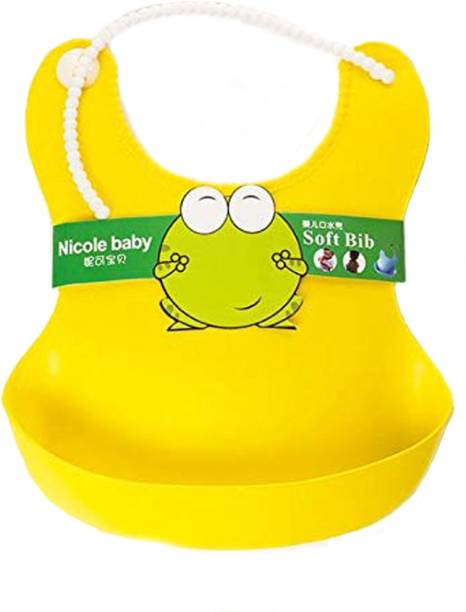 Fok 1 Pc Plastic Waterproof Stylish Baby Bib with Food Catching Pocket