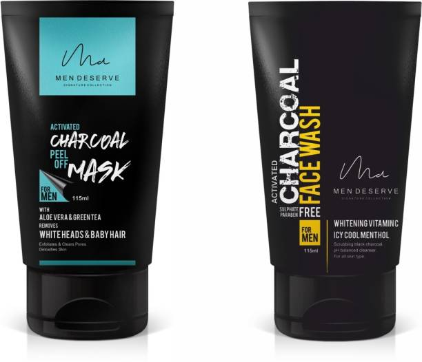 Men Deserve Charcoal Peel Off Mask and Charcoal Skin Whitening Face Wash Combo
