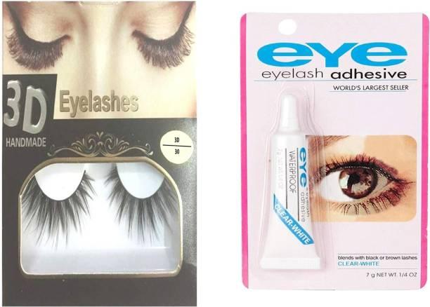 BELLA HARARO 3D Thick Long False Eyelashes with Eye lash Glue Combo of 2)
