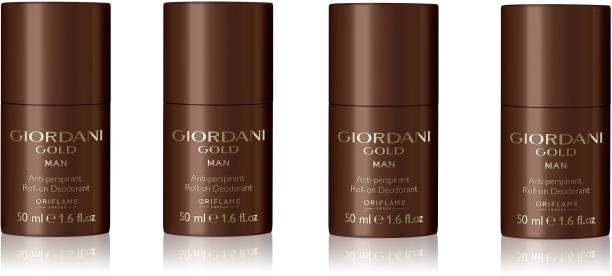 Oriflame Giordani Gold Man Anti-perspirant Roll-On Deodorant (Pack of 4) Deodorant Roll-on  -  For Men