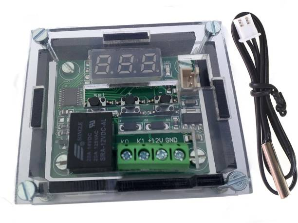 TCS Assembled 3 mm Thick Black & Clear Acrylic Case + W1209 Digital LED DC 12V Temp Thermostat Module Temperature Sensor and Controller Electronic Hobby Kit