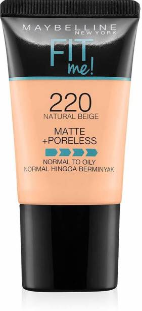 MAYBELLINE NEW YORK Fit Me Matte+Poreless Liquid Foundation Tube, 220 Foundation