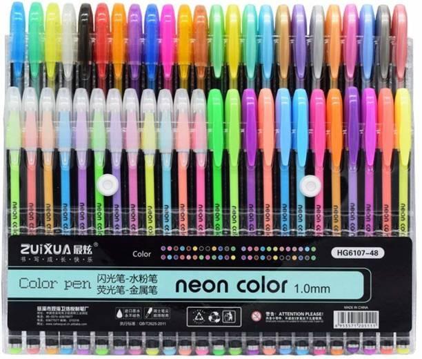 Zuixua 48 COLORFUL NEON GLITTER GEL INK PEN SET FOR KIDS/ADULTS/ARTIST (MULTICOLOR) Gel Pen