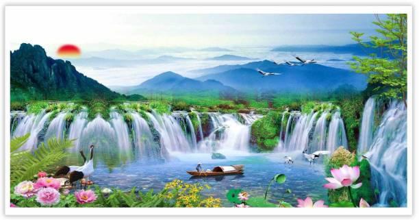 Beautiful Waterfall Boat Paper Poster Paper Print