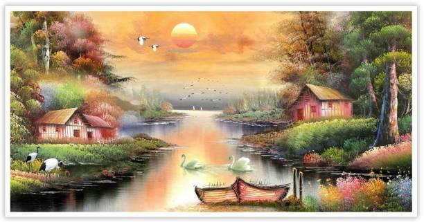 Sunset view Landscape art Paper Poster Paper Print