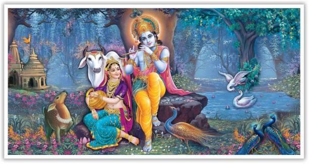 Radha Krishna Sitting In Nature Paper Poster Paper Print