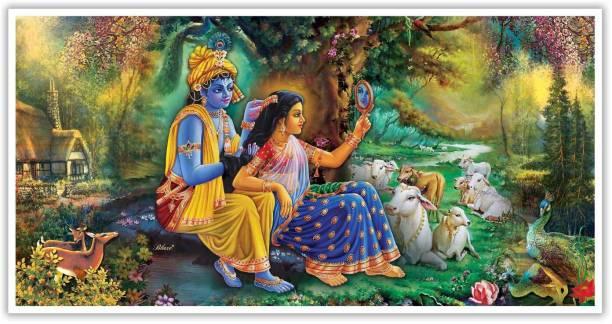 Shringar leela of Radhe krishna Paper Poster Paper Print