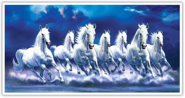 Vaastu Seven Horse Running Paper Poster Paper Print