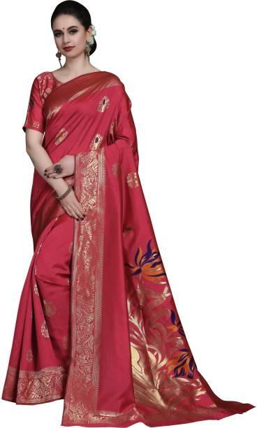 Sanku Fashion Self Design, Embroidered, Woven Kanjivaram Silk Blend, Jacquard Saree