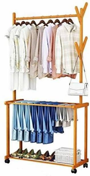 Ada Floor Standing Coat Rack Hat Stand Hanger Universal Wheel Design Shoe Rack 2-Layer Storage Bearing Strong, (Size : 80x37x175cm) Engineered Wood Coat and Umbrella Stand