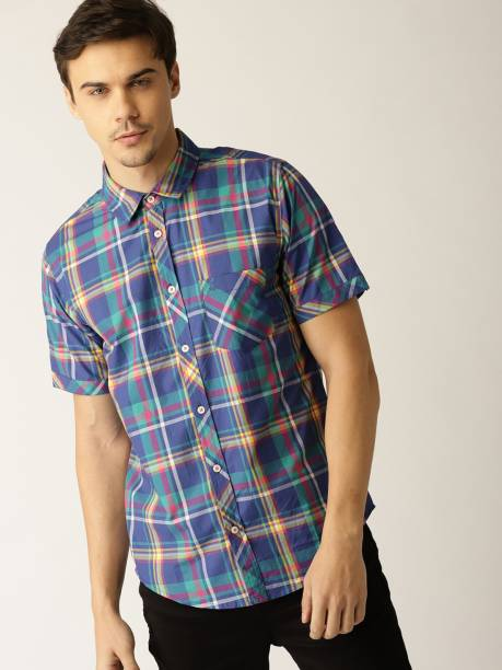 United Colors of Benetton Men Checkered Casual Blue Shirt